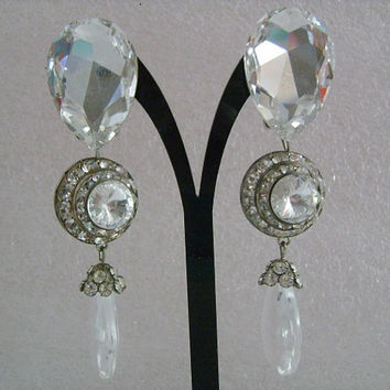 Stunning Mistar Bijoux Large Chunky Pear & Round Shaped Rhinestone Crystal Clip-On Back Chandelier Teardrop Dangle Fabulous Runway Earrings