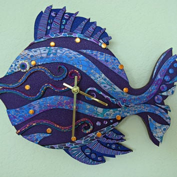 Dive Time Clock or Wall Art Sculpture in Purple, Blue and Violet Crazy Stripe Polymer Clay