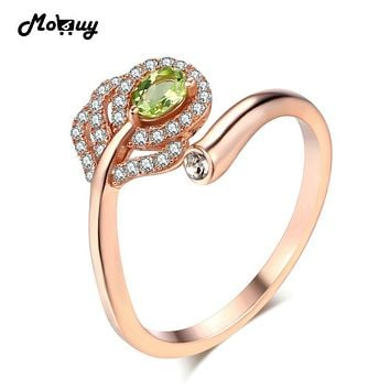 MoBuy MBRI055 Natural Gemstone Green Feather Peridot Ring Adjustable 925 Sterling-Silver-Jewelry Rose Gold Plated Ring For Women