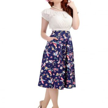 COLLECTIF VINTAGE THEODORA CHARMING BIRD FLARED SKIRT