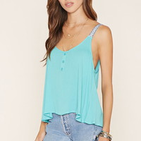 Embroidered-Strap Crepe Cami   Forever 21 - 2000221065