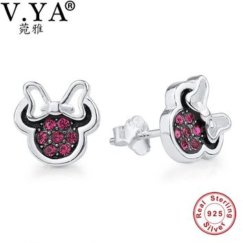 Women's Cute Minnie Stud Earrings.  High Quality 925 Sterling Silver and Crystal Studs.   ***FREE SHIPPING***