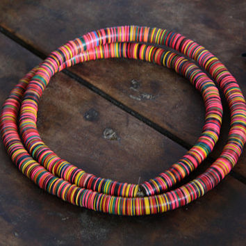 Fall Fun / Bright Multi-Colored Vintage African Vinyl (Vulcanite) Record Disc Beads or Necklace, 10x.5mm / Vintage Summer Fashion