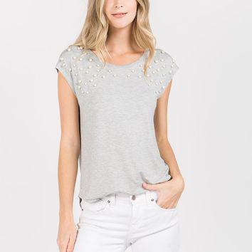 Sleeveless Top with Pearl Embellishment in Heather Grey