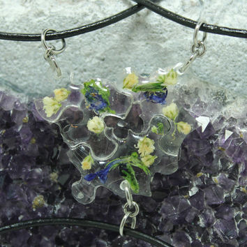Puzzle pendants 3 piece set Real flower pendants Purple C2