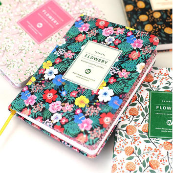 Korean Cute paper cover Floral Flower Schedule Book Diary Weekly Monthly Planner Organizer Notebook Kawaii Stationery 01605