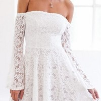 Read My Mind White Lace Long Bell Sleeve Off The Shoulder Skater Circle A Line Flare Mini Dress