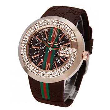 GUCCI Watch Fashion Exquisite Diamond Watchband More Print Coffee