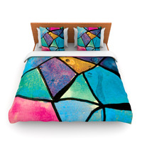 "Theresa Giolzetti ""Stain Glass 2"" Twin Fleece Duvet Cover - Outlet Item"