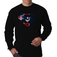 New England Inspired Superman Batman Logo, Long Sleeve Men's T-Shirt Long Sleeve Men's Tees Men's Shirt