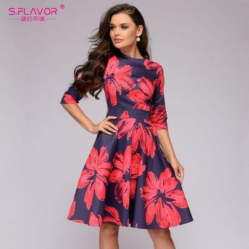49fb0c846c S.FLAVOR Women red flowers printing short dress Spring Summer fa