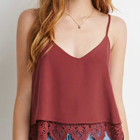 Red  V-neck Lace Strappy Vest