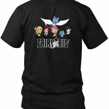 Fairytail Logo Anime 2 Sided Black Mens T Shirt