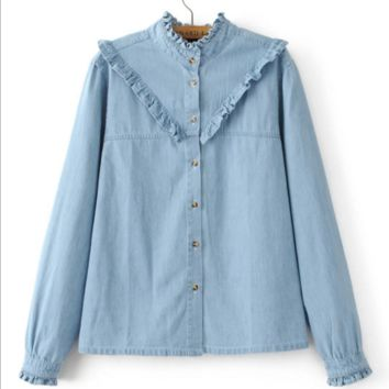 Ruffle decoration denim shirt B0016440