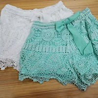 Womens New Sexy Elastic Openwork Celeb Lace Crochet Bow Shorts Mira Hot Pants (S, White)