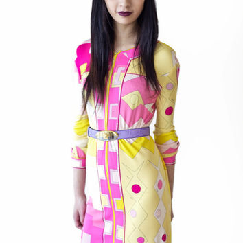 FURTHER REDUCTION from 765 to 600 covetable & collectible vintage 60s/70s Emilio PUCCI signed silk jersey neon geometric print shift dress