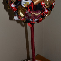 NFL Teams:  X-Large  San Francisco 49ers Ribbon Topiary.  Black, Gold & Red. Game-watching / birthday party decoration, gifts or room decor!