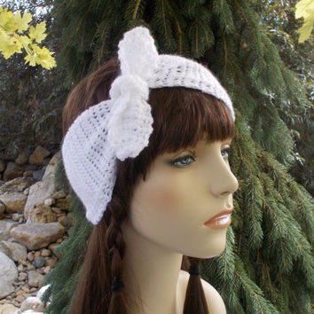 White Crochet Headband with Bow Knot