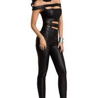 Black Cutout Off Shoulder Leatherette Jumpsuit