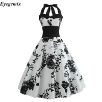 Summer Dress 2019 Casual Floral 50s 60s Retro Vintage Dress Women Robe Rockabilly Swing Pinup Vestido Sexy Elegant Party Dresses