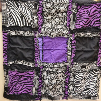 Small Baby Blanket in Purple Zebra and Black, Rag Quilt Style, Made to Order