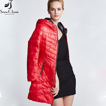 Snow Classic  Female Jacket 2016 Fashion Hooded Jacket Thick Long Jacket Parka Womens Quilted Coat 14198