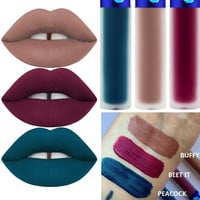 3 Color/Pack 2016 Cashmere Velvet Matte Lipstick Waterproof Lip Gloss Peacock Beetit Velvet Matte Liquid Lipstick