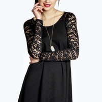 Aaliyah Long Sleeve Lace Swing Dress