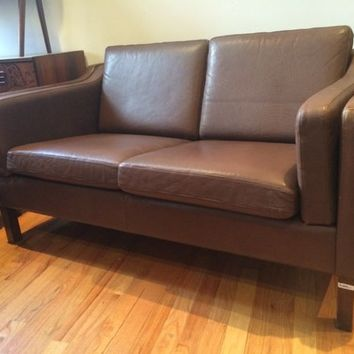 Like New Vintage Danish Leather Two seat sofa