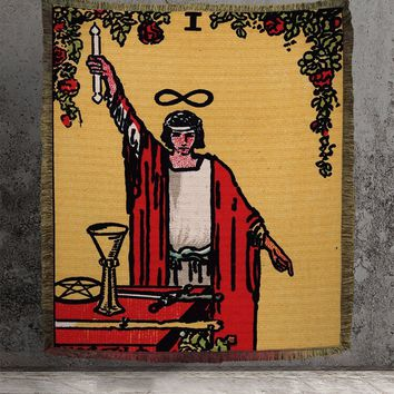 Large Woven Tapestry - The Magician Tarot Card Tapestry - Rider Waite Deck - Cotton