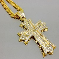 Stylish Gift Shiny Jewelry New Arrival Cross Rack Accessory Hip-hop Necklace [6542718211]