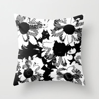 Black and white decorative pillow, flower cusion, modern floral home decor, indoor outdoor patio pillow
