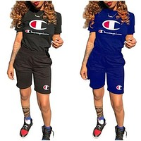 Champion Woman Men Fashion Print Pattern Short Sleeve Two Piece Suit