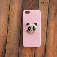 Birthday Gift Ideas Gift for Her Pink iPhone 5 Case Panda Galaxy S3 S4 S5 Animal Case Gift Idea Accessory Phone Cases Cutest Gift Crystal
