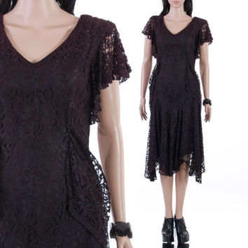 80s does 20s Black Lace Dress Draped Layers Midi Goth Witch Boho Flapper Vintage Clothing Womens Size Small Medium