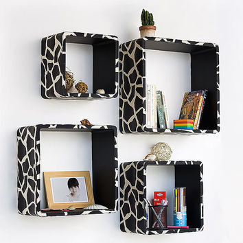 Black Giraffe Square Leather Wall Shelf / Bookshelf / by onitiva