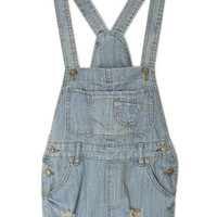 ROMWE Fading Destroyed Light-blue Denim Playsuit