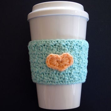 Blue Crochet Heart Cozy