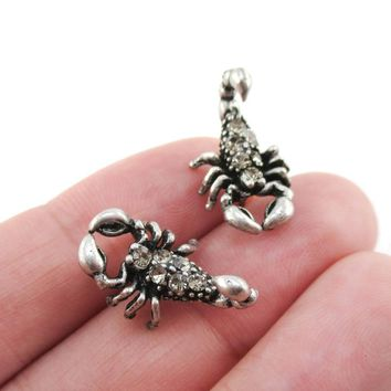 Scorpion Insect Arachnids Shaped Rhinestone Stud Earrings in Silver   DOTOLY