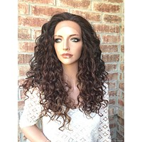 """Naturally Curly Ombré 4x4 SILK BASE Lace front wig 22"""" 5173"""