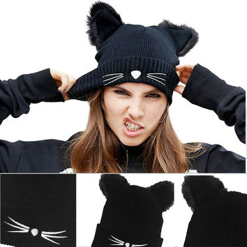 Winter Cat Ears Knitting Warm Wool Hat Fashion Cute Braided Skullies Hat Women Crochet Ski Fur Cap