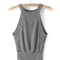 Gray Sleeveless Cropped Knit Top