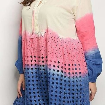 Tie Dyed Eyelet Embroidered Plus Size Tunic Top