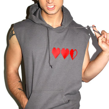 Gamer Hearts Sleevless Hoodie-Charcoal