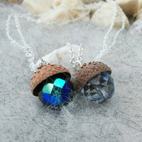 Acorn Necklace, choose your colour - Light Crystal Blue or Sparkling Pine Green | Czech Glass Jewellery