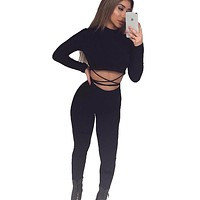 Women Two Pieces Outfit Crop & Long Pants Women Jumpsuit Long Sleeve Black Sexy Skinny Rompers Bodysuit