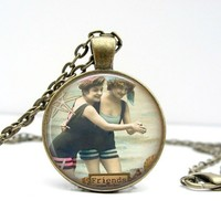 Best Friends Retro Dome Pendant Necklace