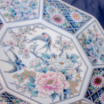 Japanese Decorative China Plate, floral, blue, gilding, octagonal plate, blue.