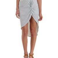 Ribbed & Striped Knotted High-Low Skirt