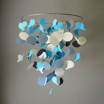 Large Blue Bird & Circle Chandelier Mobile